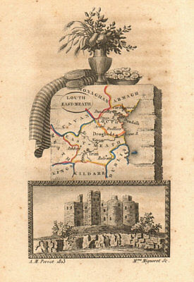 LOUTH & EAST MEATH (MEATH) antique county map by PERROT. Leinster 1824 old