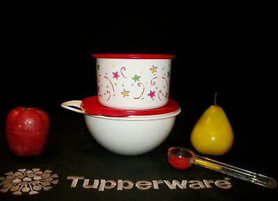 Tupperware NEW ~WHITE Thatsa 6c mixing Bowl RED ~4cup Stars Canister +FREE Scoop