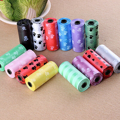 1Roll/15PCS Pet Dog Printing Waste Poo Poop Bag Degradable Clean-up Dispenser FB