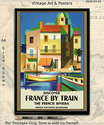 Railroad Travel Poster - Discover France by Train - 11x17 inch - Vintage Railway