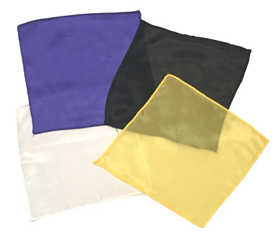 "4 Set MAGICIANS 6"" SILKS Magic Trick Yellow Blue Black White Perfect Thumb Tip"