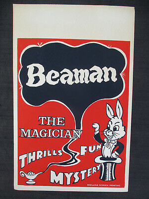 "OLD VINTAGE 1960s BEAMAN THE MAGICIAN MAGIC POSTER 14x22"" THRILLS & MYSTERY!"