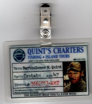 Jaws ID Badge-Quint's Charters Captain Quint costume cosplay prop