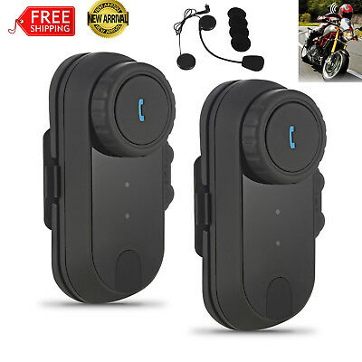 2x Motorcycle Communication Kit Helmet Bluetooth Headset Interphone Intercom GPS
