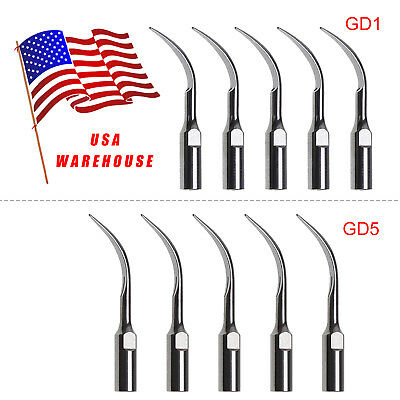 USA 10pcs Dental Ultrasonic Scaler Tip Tips GD1 GD5 Fit DTE SATELEC SANDENT SKYS