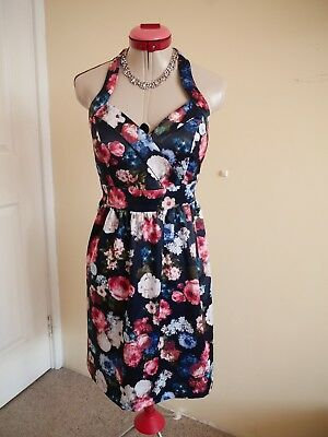 8a9e74fb3983 MIDNIGHT FLORAL Black White Pink DRESS Size 12 BNWT NEW Halter Retro 50s  Blue