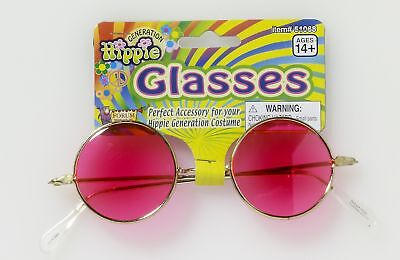Round Hippie Costume Glasses Adult: Pink Lenses One Size