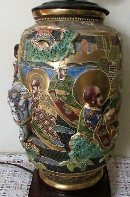 Antique Japanese High Relief Satsuma Pottery Table Lamp Gold Gilt Ornate Figures