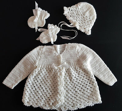 Beautiful Hand Crochet Baby Set ~ Jacket, Hat & Booties, For Baby / Reborn Doll