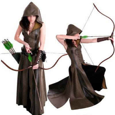 Vintage Ladies Huntress Archer Hunter Fancy Dress Costume Adult Outfit Medieval