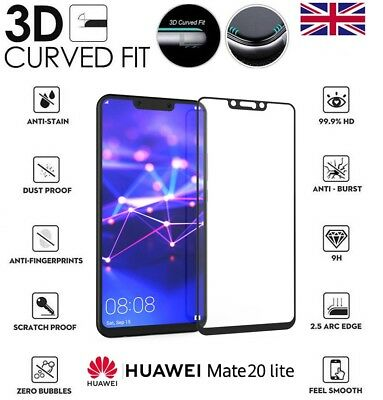 For Huawei Mate 20 Lite Genuine Full 3D Tempered Glass 9H Screen Protector Cover
