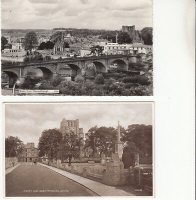 War Memorial & Elevated view of Kelso, Roxburghshire x 2 postcards