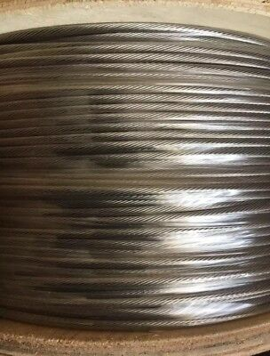 """(500') 1/8"""" 1x19 Wire Rope Cable Sailing Deck Railing Stainless Steel Type 316"""