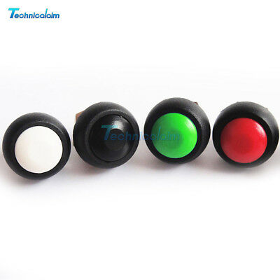 2/5Pcs 12mm Mini Round Switch Waterproof Momentary ON/OFF Push Button 6 Colors