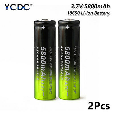 Rechargeable 18650 Battery 3.7V 5800mAh For LED Light Headlamp Torch Toy 2Pcs E