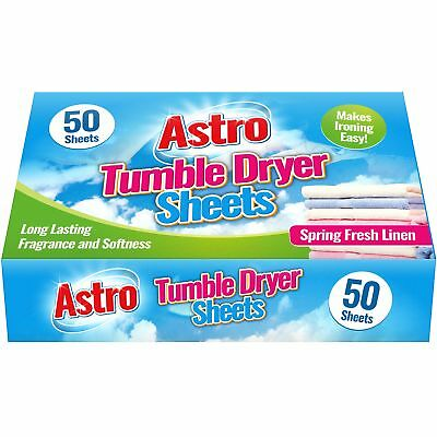 50 x Astro Spring Fresh Linen Tumble Dryer Sheets Scented Conditioned Freshness