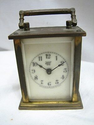 Tiny Antique Waterbury Co Brass Carriage Clock Beveled Glass Porcelain Face
