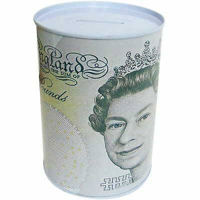 "6"" Large Money Tin £5 Note Piggy Bank Box Novelty Savings Save Coin Jar Counting"