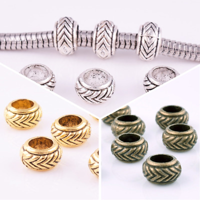 3 Color Round Large Hole Spacer Beads Charm Bracelets Diy Jewelry Finding 7X4mm