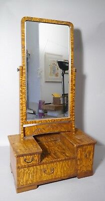 RARE 19th C Japanese KYODAI Dresser Top Mirror w Drawers MULBERRY Wood