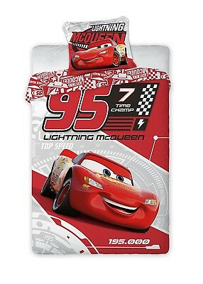 COPRIPIUMINO Set Letto CARS Saetta McQueen 7 TIME CHAMP 140x200cm DISNEY BED SET
