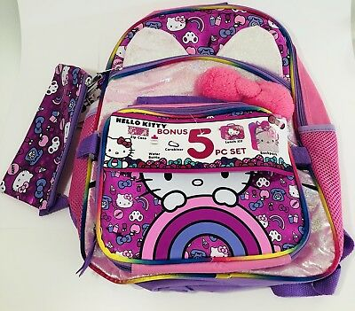 646d32d68 Hello Kitty 5-Piece Kids Backpack Set With Lunch Bag School Bag Set Pink