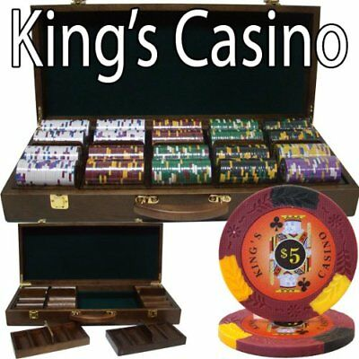 500ct. King's Casino 14g Poker Chip Set in Walnut Wooden Carry Case