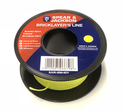 SPEAR & JACKSON 50m HI-VIZ YELLOW BRAIDED NYLON BRICKLAYERS MASON BRICK LINE