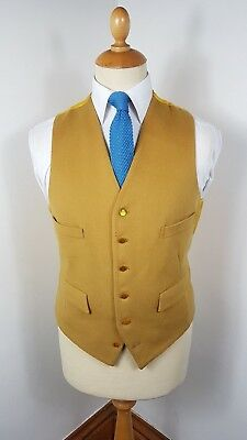VINTAGE 1970's YELLOW MOLESKIN WOOL WAISTCOAT LARGE 42 REGULAR ENGLISH MADE