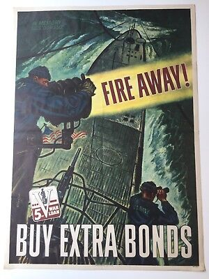 Orig 1944 WWII Poster FIRE AWAY Memory USS Dorado 5th War Loan BONDS Battleship