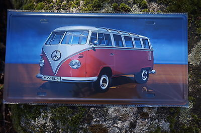 Jf002A Plaque Metal Combi Volkswagen Reproduction 30X16 Cm