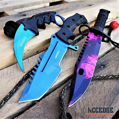 3PC CSGO BLUE FIXED BLADE HUNTSMAN KNIFE + Purple M9 Bayonet + BLUE KARAMBIT