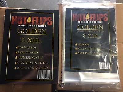 100 GOLDEN AGE Comic Book Poly Bags with GOLDEN Backing Boards, FREE SHIPPING