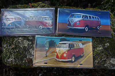Jf002  Trois  Plaque Metal Combi Volkswagen Reproduction 30X16 Cm