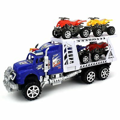 Velocity Toys ATV Transporter Trailer Friction Toy Truck With 4 Toy ATVs