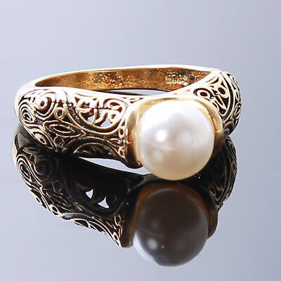 Vintage Bronze Ring Retro Band Imitation Pearl Rings Women Jewelry Gift LG