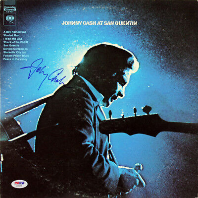 Johnny Cash Authentic Signed At San Quentin Album Cover W/ Vinyl PSA #AA82200