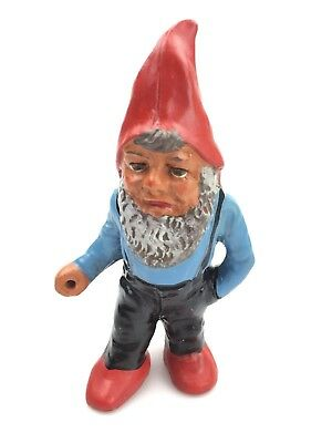 """Vintage Garden Gnome Terracotta GERMANY NOS 6.5"""" TALL 1950'S BLUE HAND PAINTED"""
