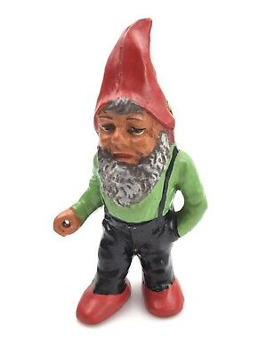 """Vintage Garden Gnome Terracotta GERMANY NOS 6.5"""" TALL 1950'S GREEN HAND PAINTED"""