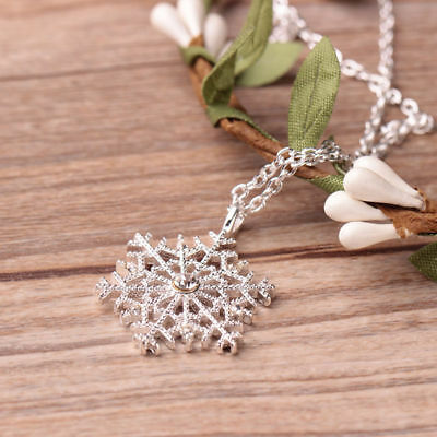 Charm Silver Frozen Snowflake Crystal Necklace Pendant Chain Xmas Gift Girl /LS