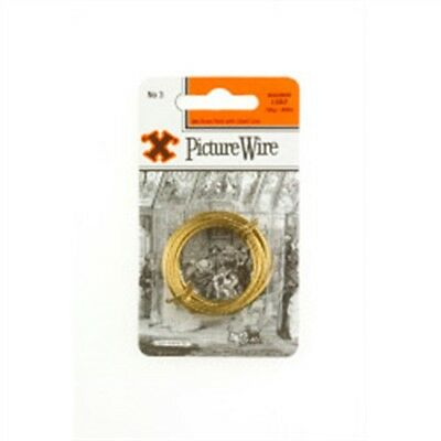 Picture Wire No. 3 Brass With Steel Core Load 18kg/40lb 3 Meters - x Blister No