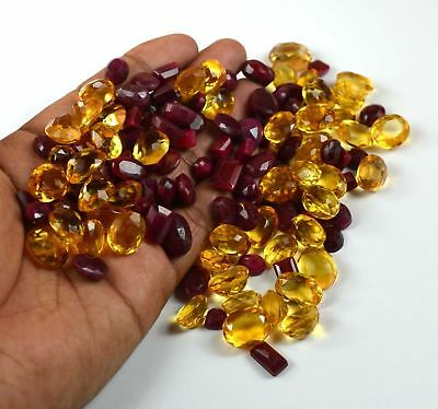 Bumper Sale 1000 Ct. Natural Mix Ruby & Citrine Loose Gemstone Wholesale Lot