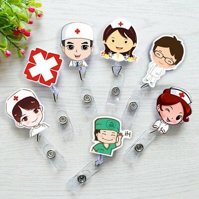 Retractable Reel Badge Lanyard Nurse Name Tag Key Card Holder Belt Clip Cute