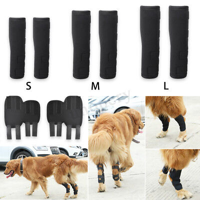 Pair Rear Knee Leg Brace Support Pet Dogs Protector Therapeutic 4 Straps S M L