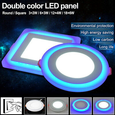Dual Color LED Panel Lights Ceiling Recessed Downlight Spot Lamp Round/Square