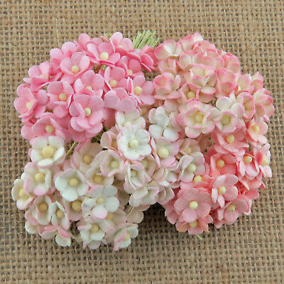 100 x 10mm MINIATURE SWEETHEART BLOSSOMS Mulberry Paper Flowers PAPER CRAFTS