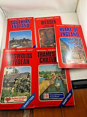 lot of 5 official tourist map england cartography many areas 6528