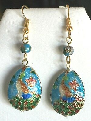 60% Off Sale-Stunning Handcrafted Vintage Turquoise Cloisonne' Peacock Earrings