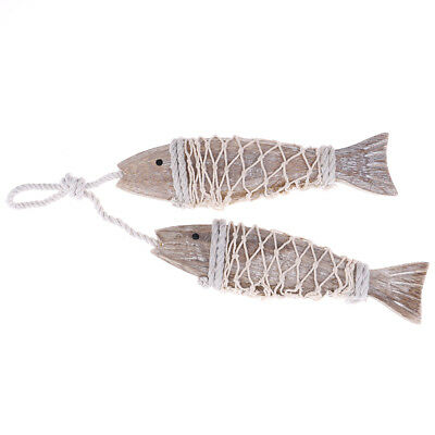 2pcs wooden wood hanging fish coastal village handicrafts nautical wall decor E&