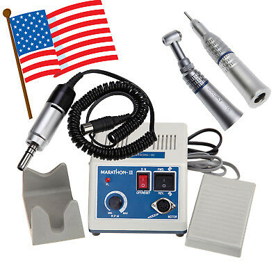 Dental Lab Marathon 35K RPM Micromotor Machine+ Slow Speed Handpiece Push Button